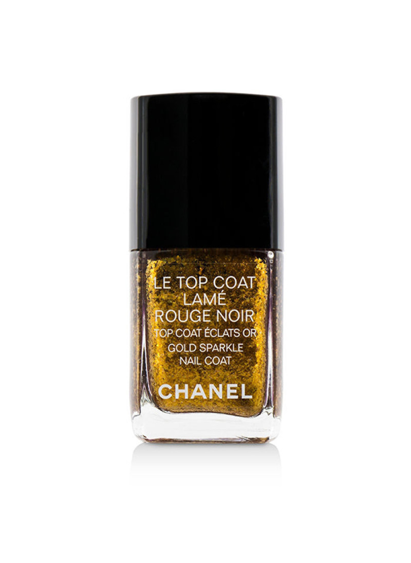 CHANEL LE TOP COAT LAME ROUGE NOIR GOLD SPARKLE 13...